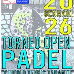 """""""OPEN PADEL CT TARANTO"""", ISCRIZIONI FINO AL 18 GENNAIO"""