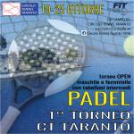 """DAL 19 OTTOBRE PRIMO TORNEO DI PADEL """"CT TARANTO"""""""